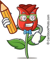Student red rose character cartoon