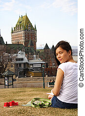 Quebec City - Student relaxing in Quebec City with Chateau...