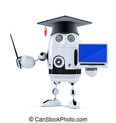 Student robot with pointer and laptop. Isolated
