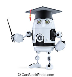Student robot with pointer. Isolated on white