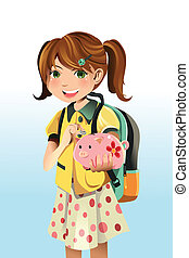 Student saving money - A vector illustration of a student...