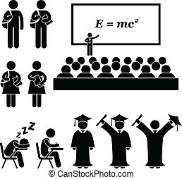 This is a set of people pictograms that represent school, college, and university. The related topic included are students, teacher, lecturer, and graduation.