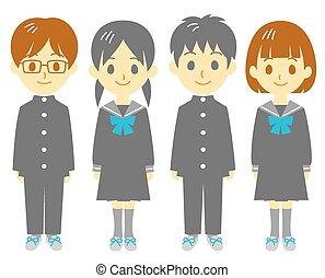 Student, schoolboy and schoolgirl, vector file