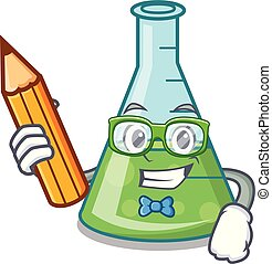 Student science beaker character cartoon