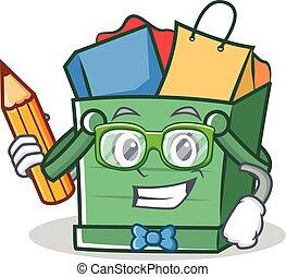 Student shopping basket character cartoon