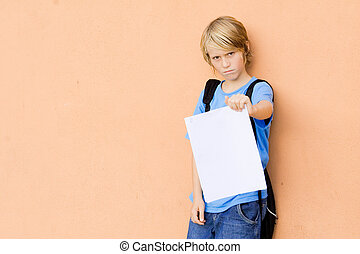 student showing bad report card of failed exams