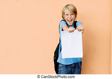 student showing school report card with pass or exciting news