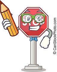 Student sign stop cartoon side street mascot
