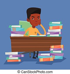 Student sitting at the table with piles of books.