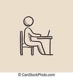 Student sitting on chair in front of laptop sketch icon.