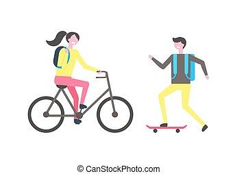 Student Skating on Skateboard Woman Riding on Bike