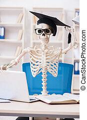 Student skeleton preparing for exams