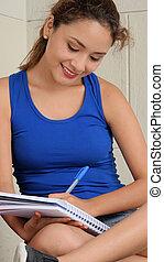 student, skrift, in, anteckningsbok