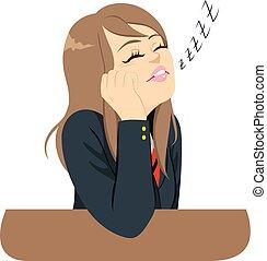 Student Sleeping Bored