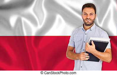 Student smiling over Polish flag