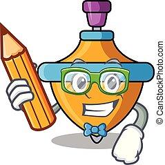 Student spinning top character cartoon vector illustration