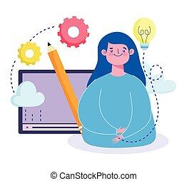 student, spotprent, online, creativiteit, cursus, opleiding, website, digitale