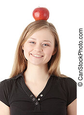 Student - Beautiful student woman have apple on her head -...