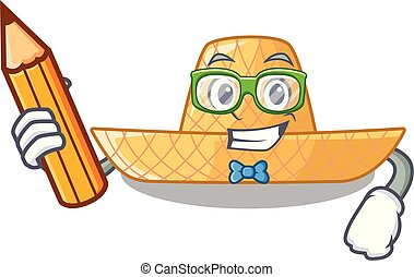 Student straw hat in the shape mascot