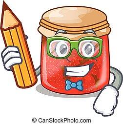 Student strawberry marmalade in glass jar of cartoon
