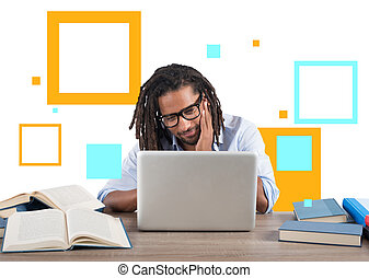 Student studies with his laptop with a desk full of books. Concept on online exam