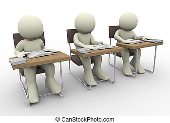 Student studying - 3d render of student in class room