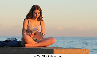 Student studying memorizing notes at sunset - Full body...