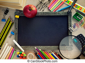 Student supplies - School objects for students. Chalkboard, ...