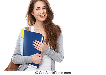 student, szczęśliwy, odizolowany, white., młody