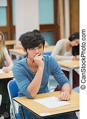 student, tänkande, under, examen