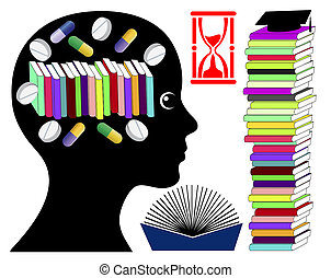 Student taking brain enhancing drugs. Smart drugs to boost brain power for exam preparation