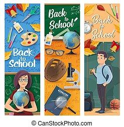 Student, teacher, classroom with school supplies