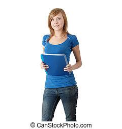 Teen student girl isoalted on white background