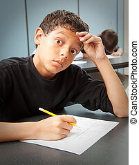Student - Test Anxiety - Student looks worried by a surprise...
