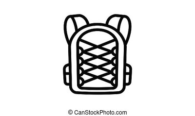 Student textile backpack icon animation outline best object on white background