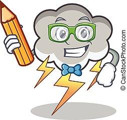 Student thunder cloud character cartoon vector illustration