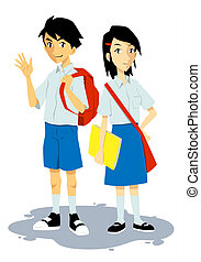 a couple of school teens