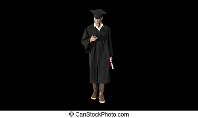 student, używając, absolwent, telefon, znowu, młody, pieszy...