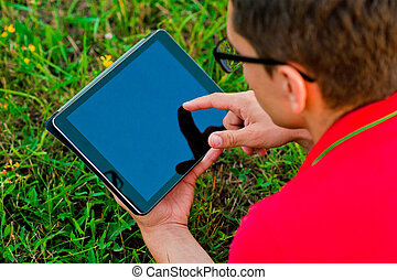 student using a touch screen device