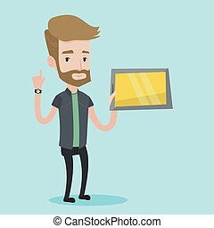 Student using tablet computer vector illustration. - Student...