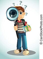 student, vasthouden, boekjes , en, vergrootglas