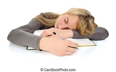 student, vellen, slapend, gedurende, studerend