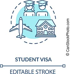 Student visa concept icon. Foreign country legal immigration...