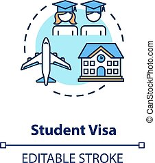 Student visa concept icon. Foreign country legal migration. ...