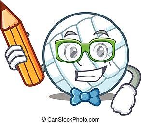 Student volley ball character cartoon vector illustration