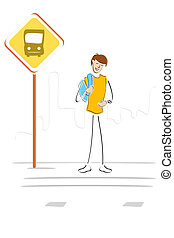 student waiting at bus stop