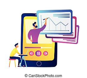 Student watching recorded lesson on huge smartphone with teacher drawing chart vector illustration.