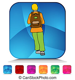 Student Wearing Backpack Shiny Button Set