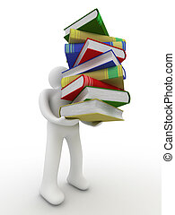student with a bale of books. Isolated 3D image.