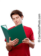 Student with a green file file